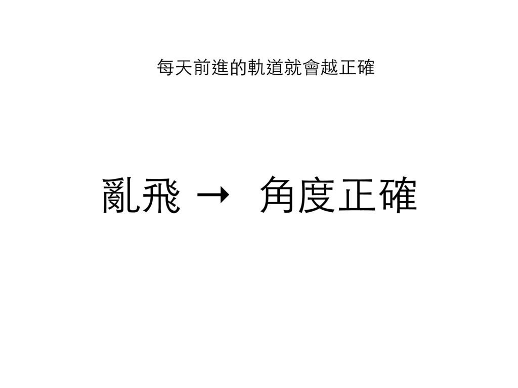 亂飛 → ⾓角度正確 每天前進的軌道就會越正確