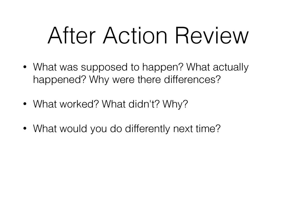 After Action Review • What was supposed to happ...