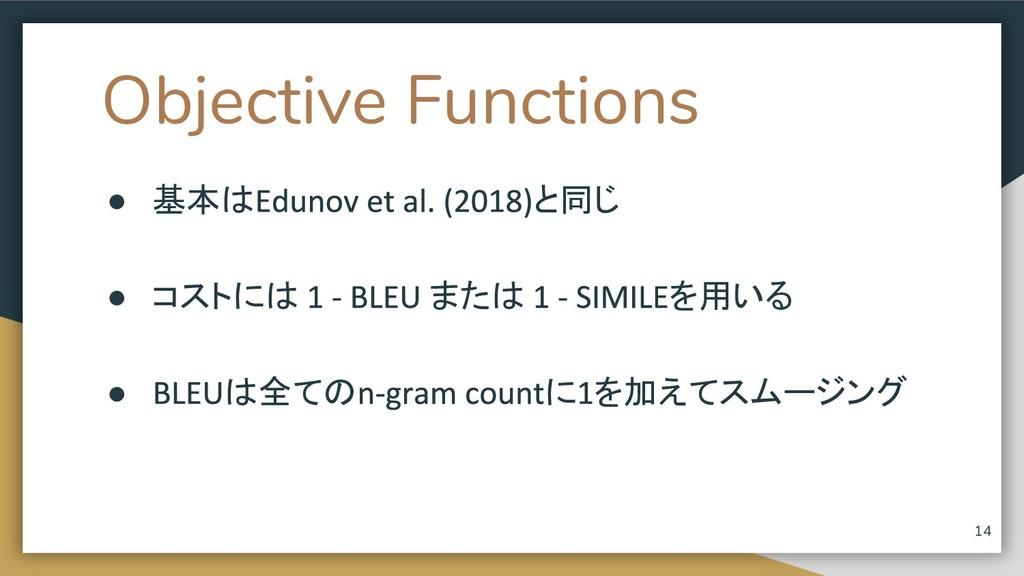 Objective Functions ● 基本は と同じ ● コストには または を用いる ...
