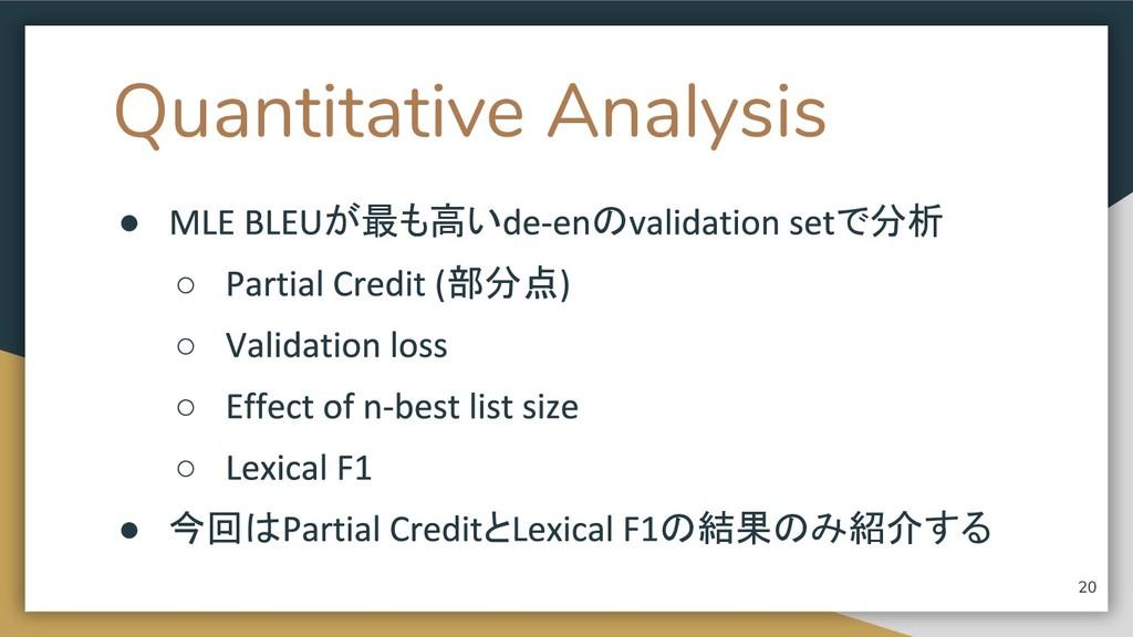 Quantitative Analysis ● が最も高い の で分析 ○ 部分点 ○ ○ ○...