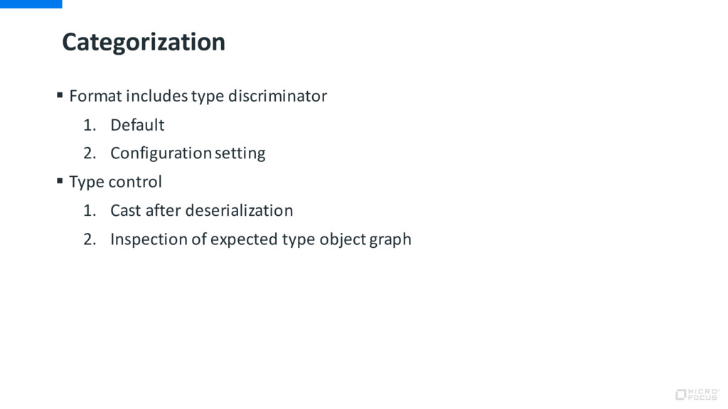 Categorization § Format includes type discrimin...