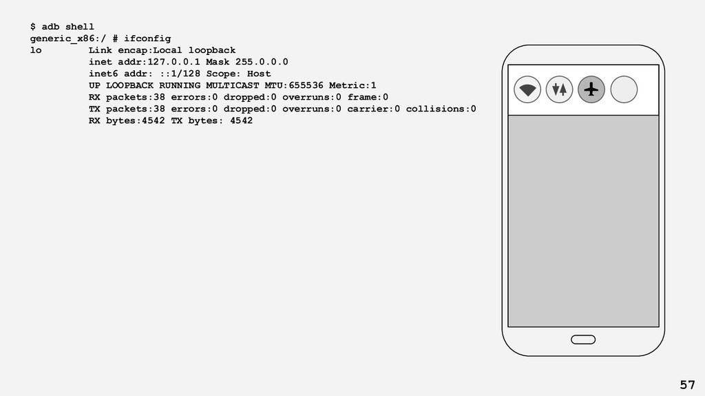 $ adb shell generic_x86:/ # ifconfig lo Link en...