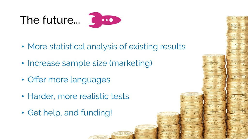 The future... • More statistical analysis of ex...