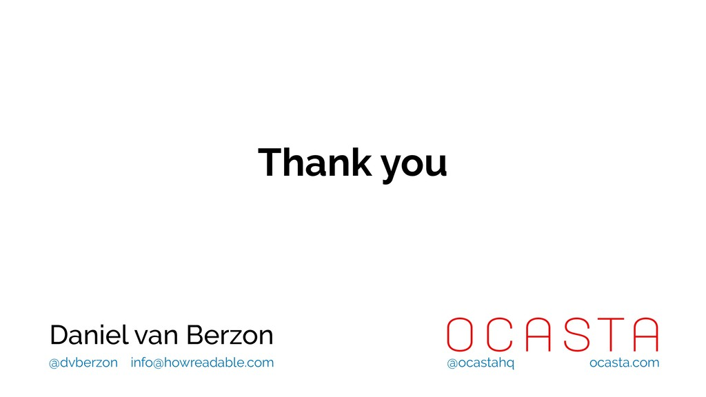 Thank you Daniel van Berzon @ocastahq ocasta.co...