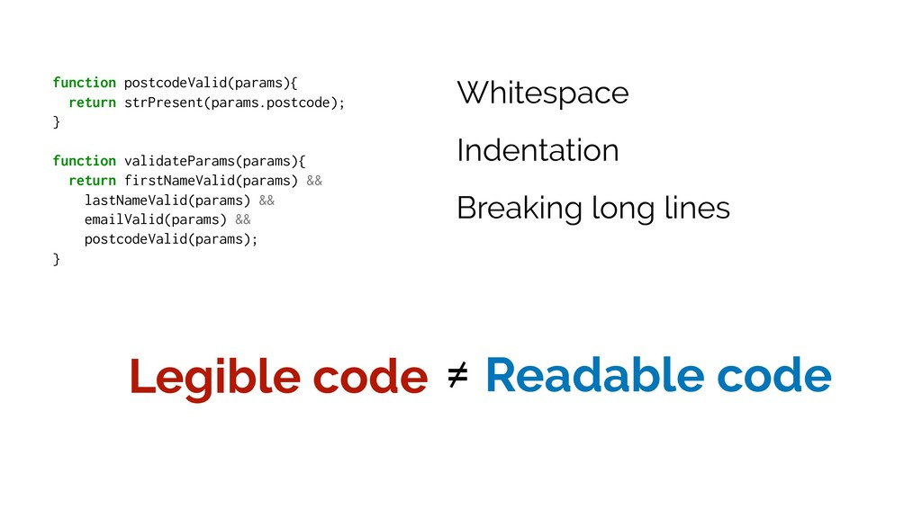 Legible code ≠ Readable code function postcodeV...