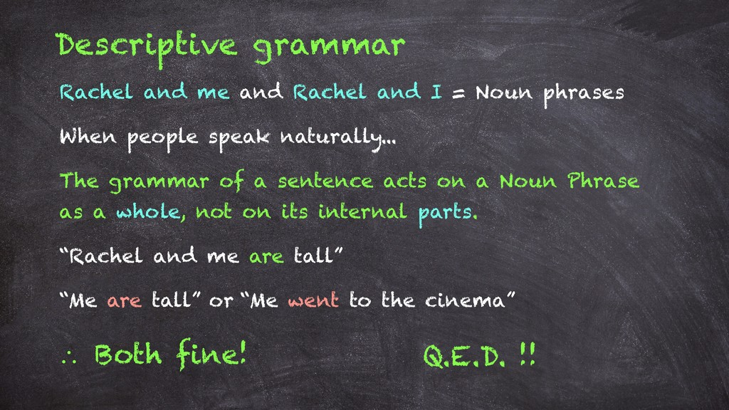 Descriptive grammar Rachel and me and Rachel an...