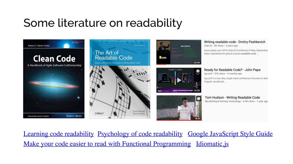 Some literature on readability Learning code re...