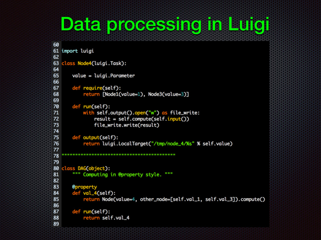 Data processing in Luigi