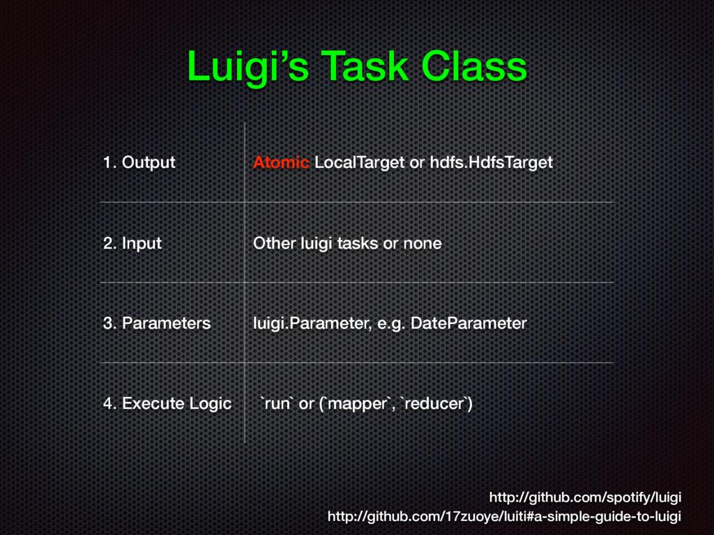 Luigi's Task Class 1. Output Atomic LocalTarget...