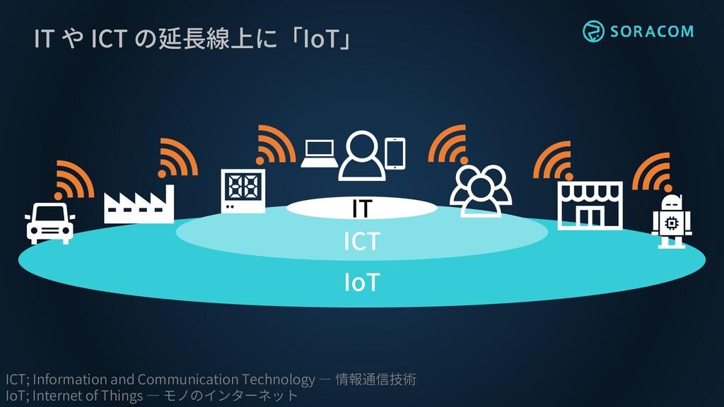 IT や ICT の延長線上に「IoT」 ICT IoT ICT; Information a...