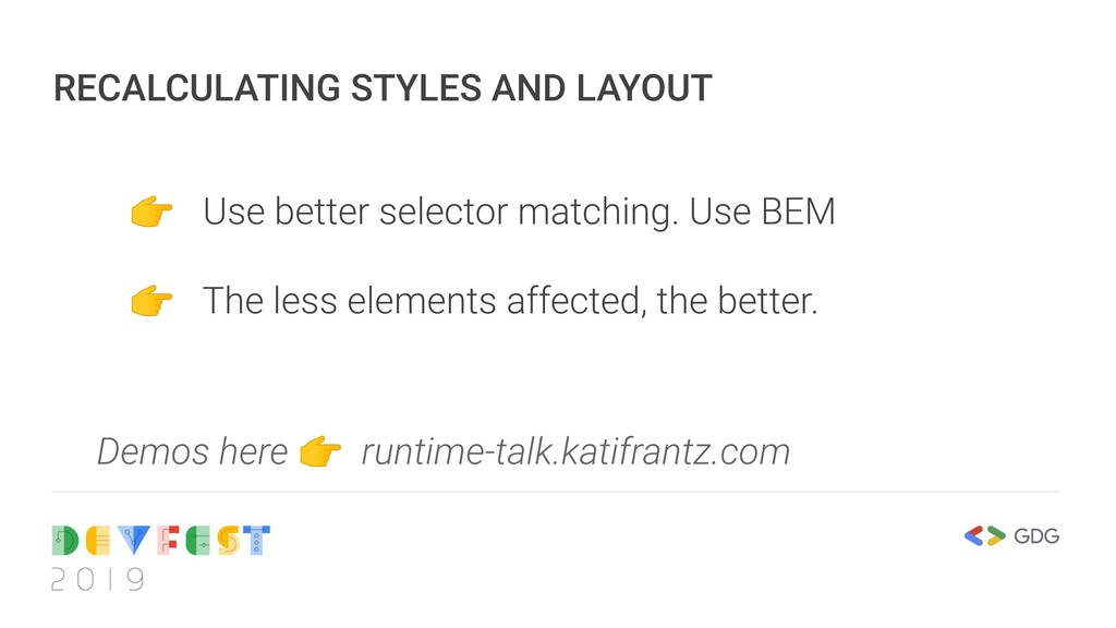 RECALCULATING STYLES AND LAYOUT  Use better sel...