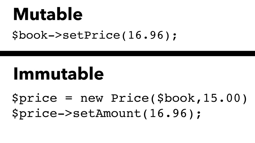 $book->setPrice(16.96); $price = new Price($boo...