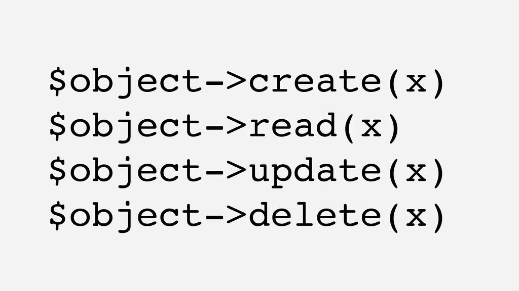 $object->create(x) $object->read(x) $object->up...
