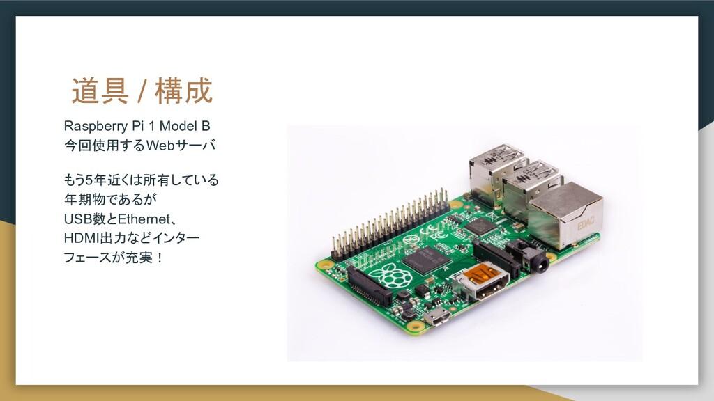 道具 / 構成 Raspberry Pi 1 Model B 今回使用するWebサーバ もう5...