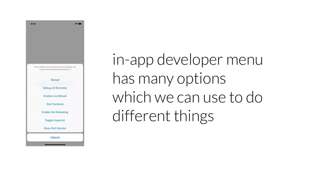 in-app developer menu has many options which we...