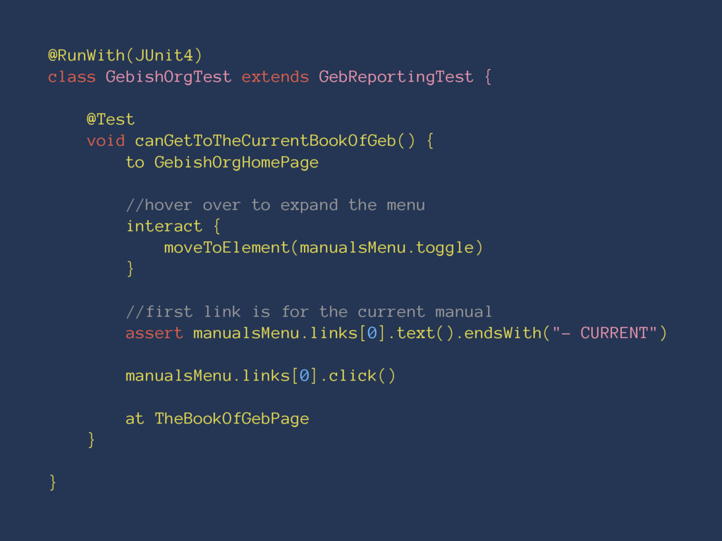 @RunWith(JUnit4) class GebishOrgTest extends Ge...