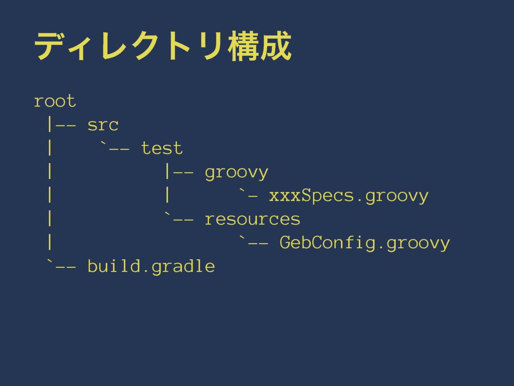 σΟϨΫτϦߏ root |-- src | `-- test | |-- groovy |...
