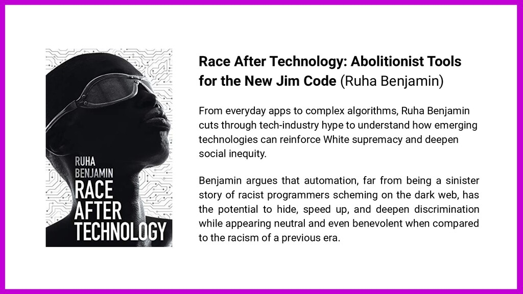 Race After Technology: Abolitionist Tools for t...