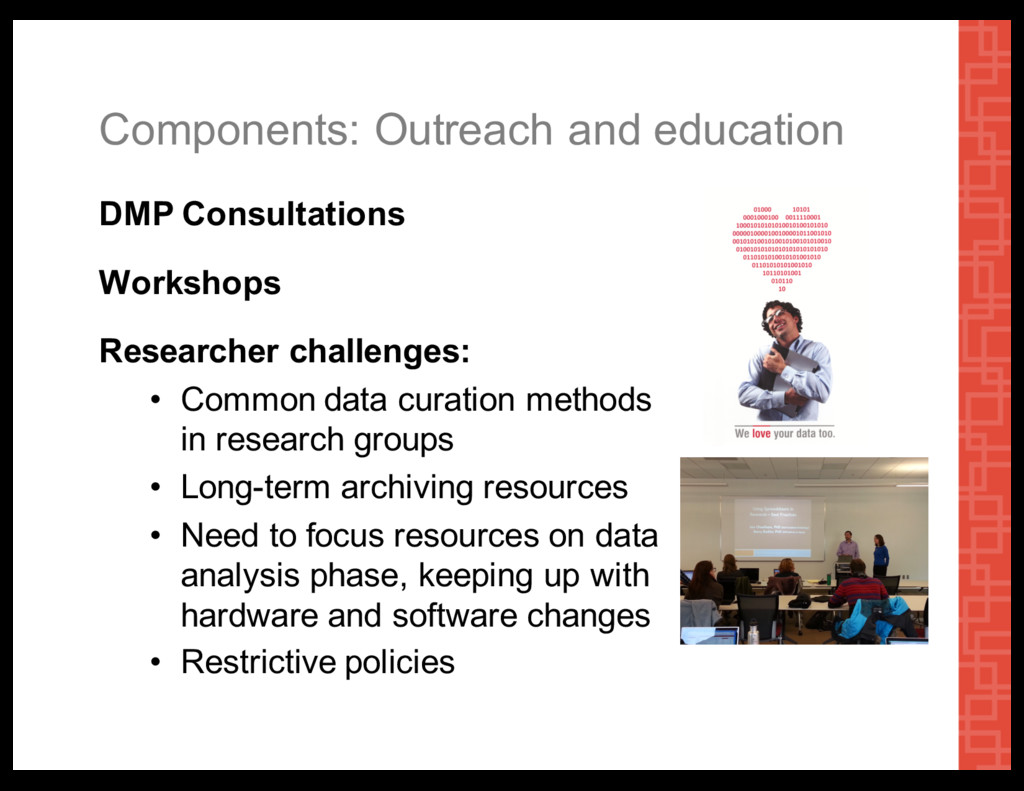 Components:  Outreach  and  education DMP  Cons...