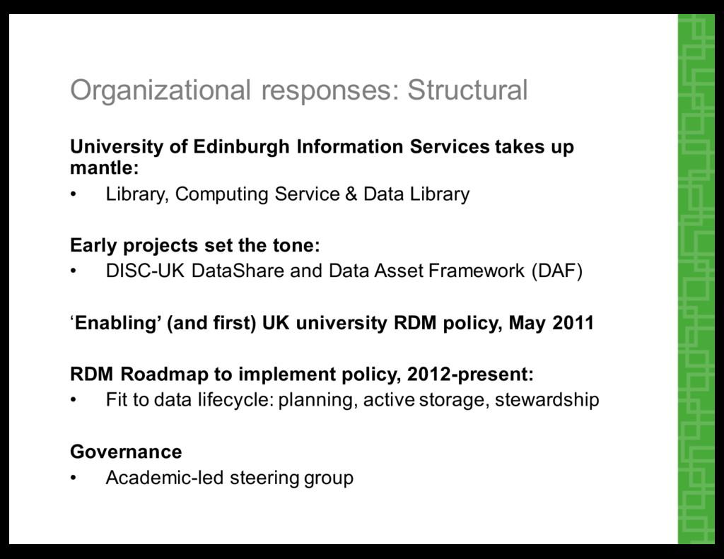 Organizational responses: Structural  Univer...