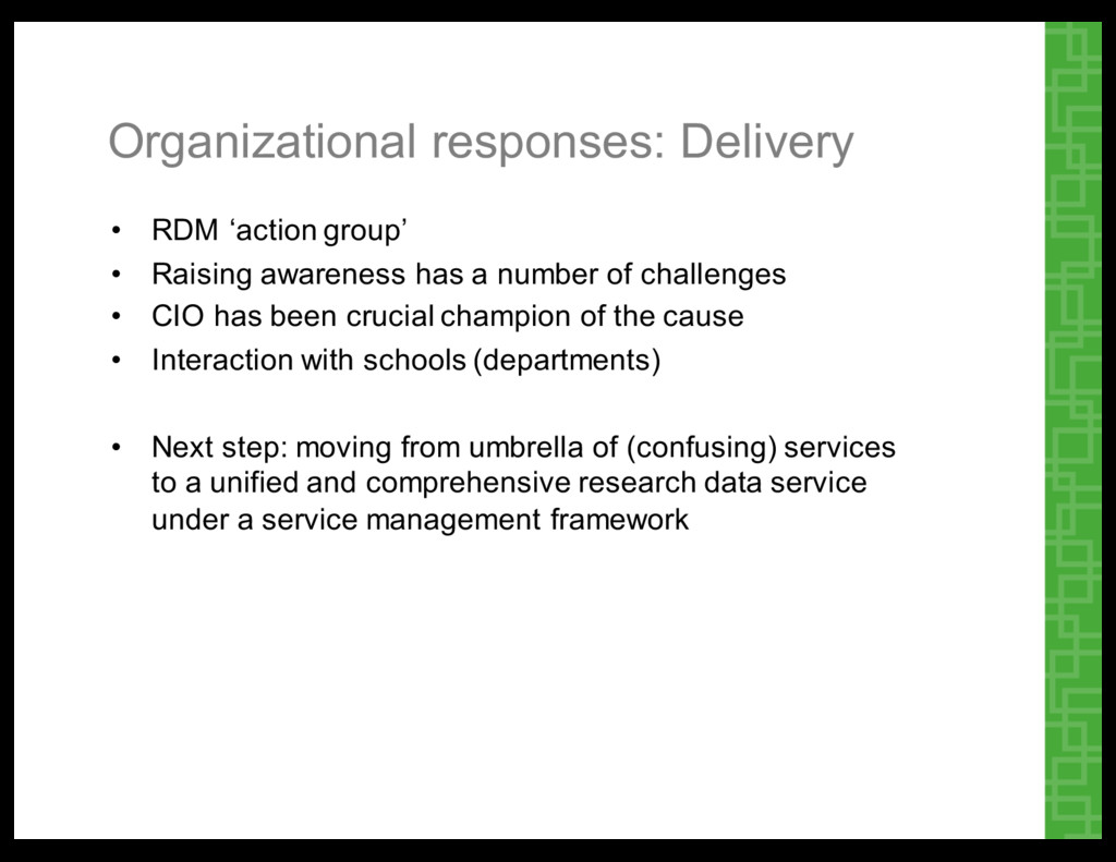 Organizational  responses:  Delivery • RDM  'ac...