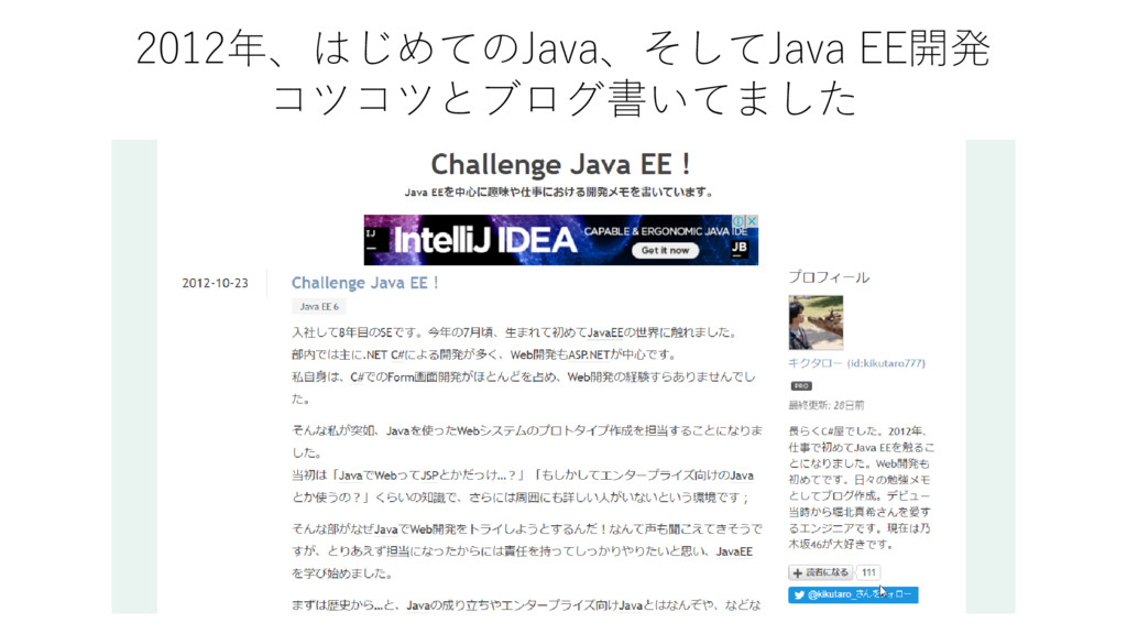 2012年、はじめてのJava、そしてJava EE開発 コツコツとブログ書いてました
