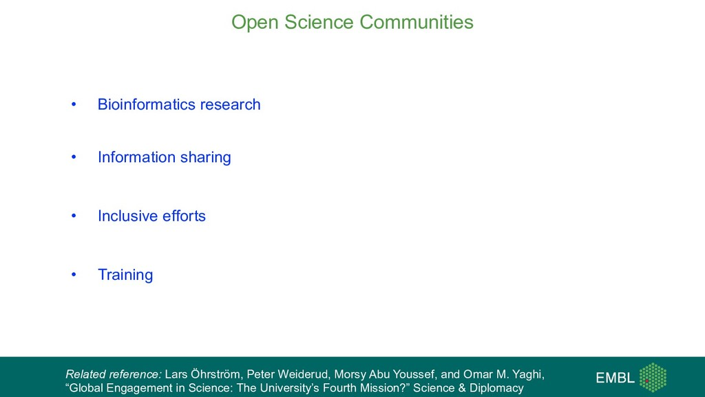 • Bioinformatics research • . • Information sha...