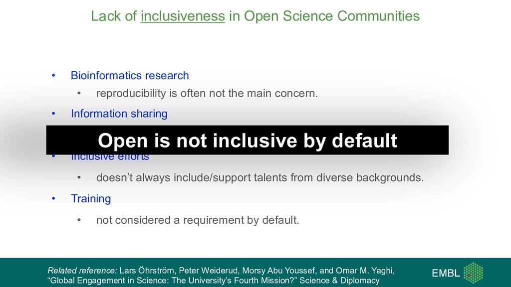 Lack of inclusiveness in Open Science Communiti...