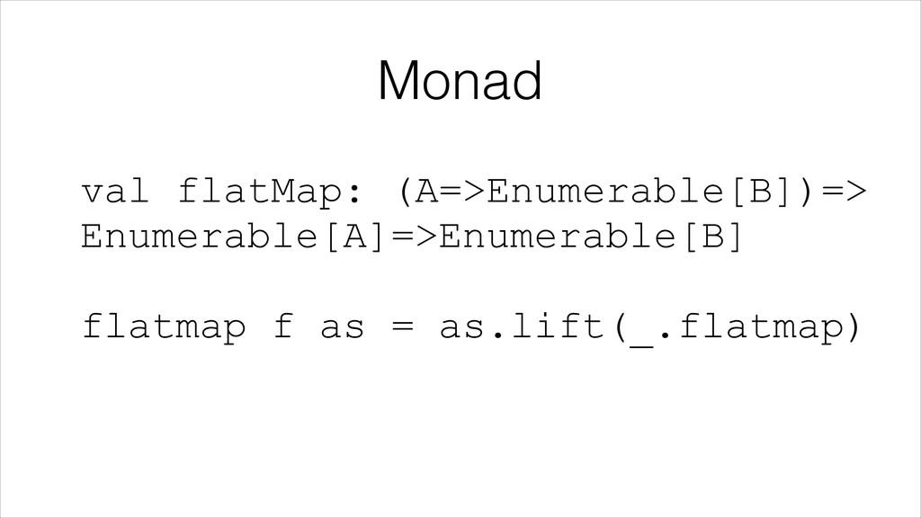 Monad val flatMap: (A=>Enumerable[B])=> Enumer...
