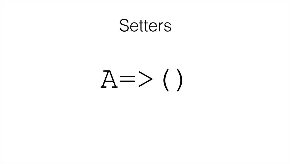 Setters A=>()