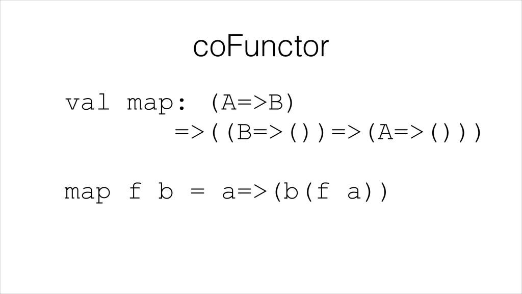 coFunctor val map: (A=>B) =>((B=>())=>(A=>()))...