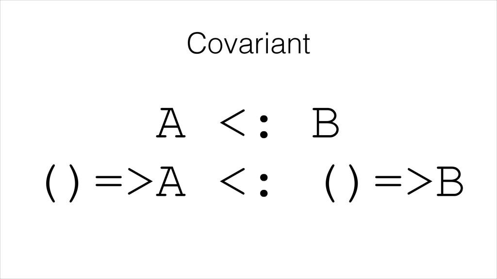 Covariant A <: B ()=>A <: ()=>B