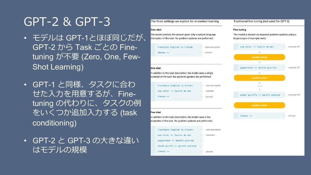 GPT-2 & GPT-3 • モデルは GPT-1とほぼ同じだが、 GPT-2 から Tas...
