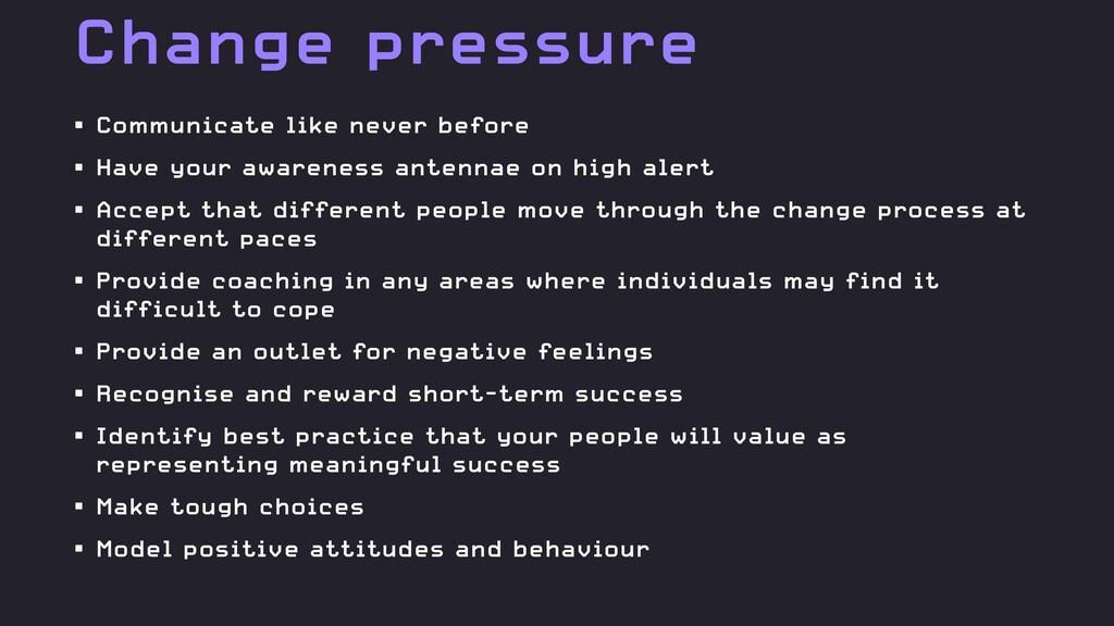 Change pressure • Communicate like never before...