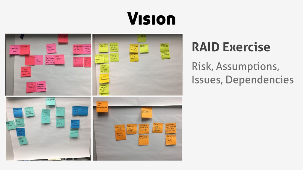 Vision RAID Exercise Risk, Assumptions, Issues,...