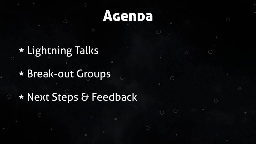 + + + + + + + + + + Agenda Lightning Talks Brea...