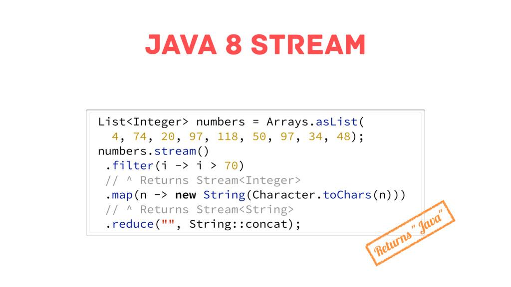 java 8 stream List<Integer> numbers = Arrays.as...