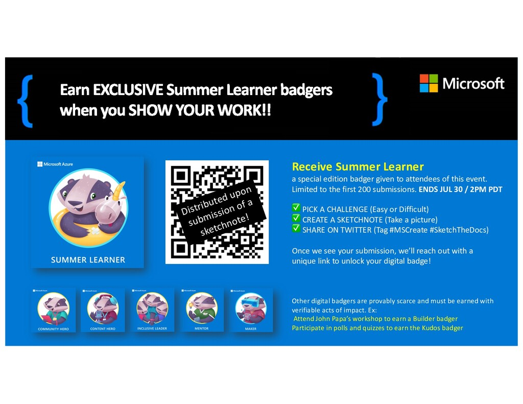 Receive Summer Learner a special edition badger...