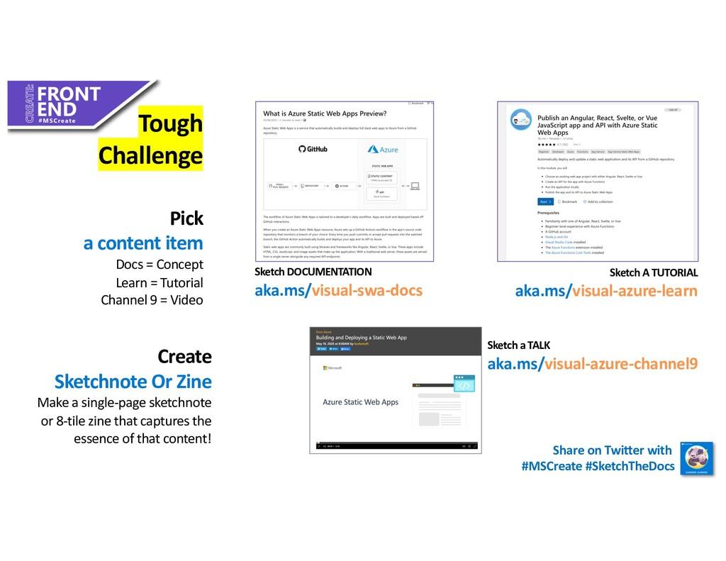 Tough Challenge Pick a content item Docs = Conc...