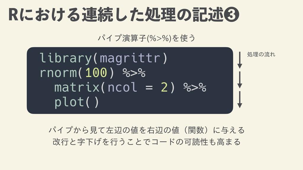 3ʹ͓͚Δ࿈ଓͨ͠ॲཧͷهड़ library(magrittr)   rnorm(100) ...