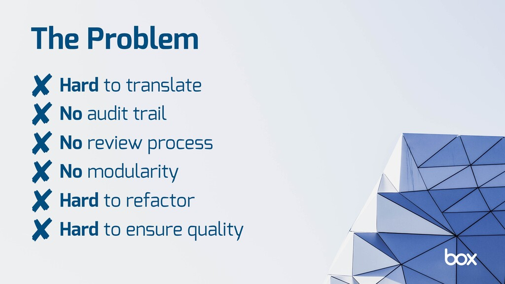 The Problem Hard to translate No audit trail No...