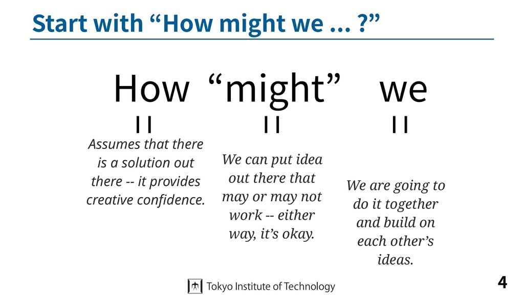"Start with ""How might we ... ?"" 4 How ""might"" w..."
