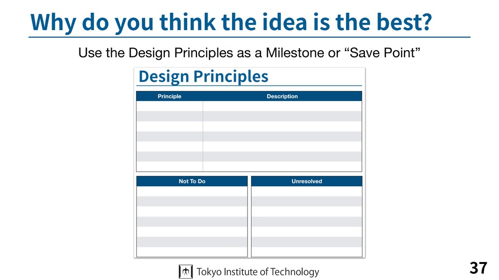 Why do you think the idea is the best? 37 Use t...
