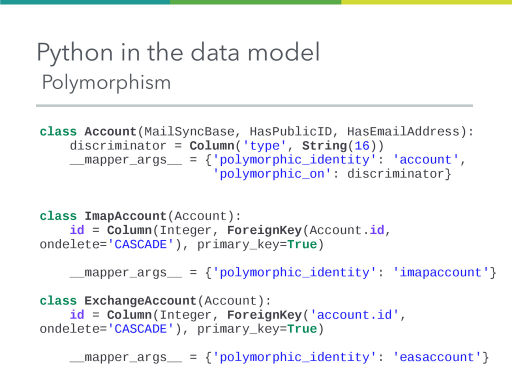 Python in the data model Polymorphism class Acc...