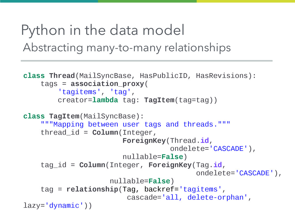 Python in the data model Abstracting many-to-ma...