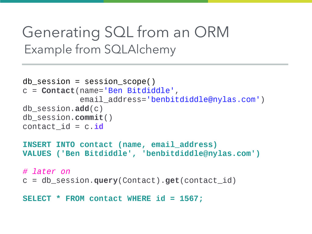 Generating SQL from an ORM Example from SQLAlch...