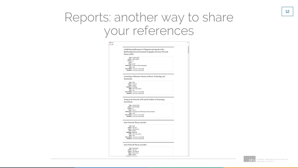 12 Reports: another way to share your references