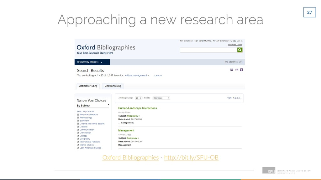 27 Approaching a new research area Oxford Bibli...