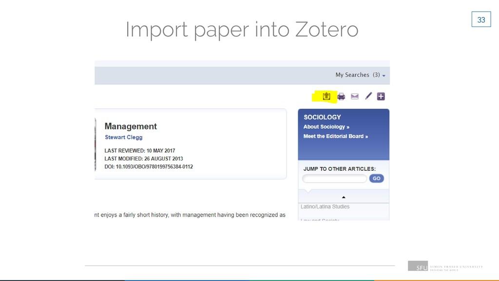 33 Import paper into Zotero
