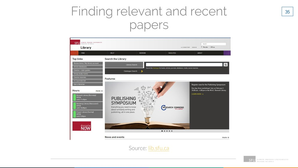 35 Finding relevant and recent papers Source: l...